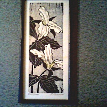 "Framed Wood Block Print "" Trillium"" by Fannie Rebecca Mennen  (1903 - 1995)/ Circa 1975 - Posters and Prints"