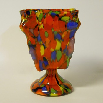 "Kralik ??""Knuckle"" Pedestal Dish Vase, Circa 1930 - Art Glass"
