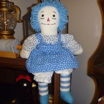 Blue Homemade Raggedy Ann Doll - Dolls