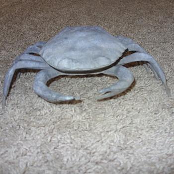 vintage brass flip top crab ashtray - Tobacciana