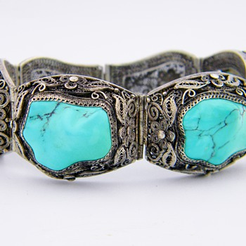 Antique Chinese Turquoise Silver Filigree Panel Bracelet W/Safety Clasp - Asian