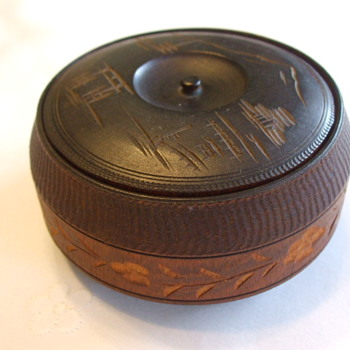 Antique Japanese Sandalwood TOBACCO BOX with Mount FUJI - Asian