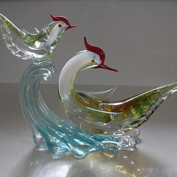 Multi Glass Japan bird pair - Art Glass