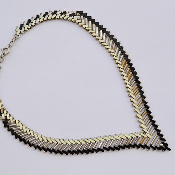 Art Deco 1930's Jakob Bengel Brickwork Necklace - Costume Jewelry