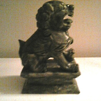 "Heavy 6"" Spinach Green Stone Foo Dog / Unknown Maker and Age - Asian"