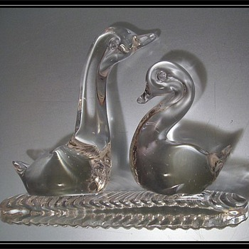 Glass Ducks on Glass jagged Base - Art Glass
