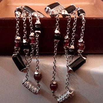 Deco style 14ct onyx ruby and diamond drop/dangle screw back earrings - Fine Jewelry