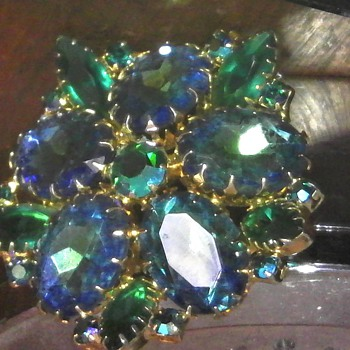 Blue Green Rhinestone Brooch  - Costume Jewelry