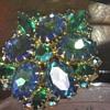 Blue Green Rhinestone Brooch