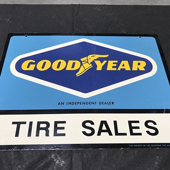 Great old double sided hanging Goodyear sign  - Petroliana