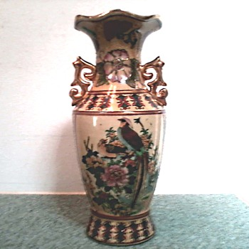 "Chinese Hand Painted ""Satsuma"" Style Moriage Vase with Gilded Handles / Circa 1920 - 1930's - Asian"