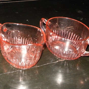 Depression Glass Sugar and Creamer Set Old Colony Pattern by Hocking Glass - Glassware
