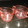 Depression Glass Sugar and Creamer Set Old Colony Pattern by Hocking Glass
