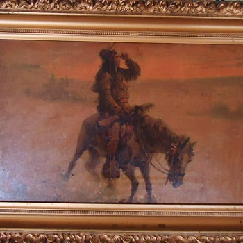 REPOST! Sad Indian on Horse, Print or painting? Hooves of horse and feathers cut for frame fitting?  No signature - Fine Art