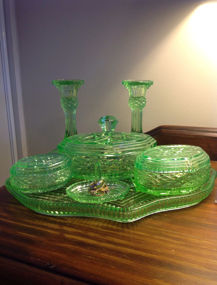 Uranium Glass Dressing table set | Collectors Weekly