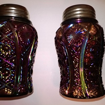 Exceedingly Rare Amethyst Carnival Octagon Shakers - Glassware