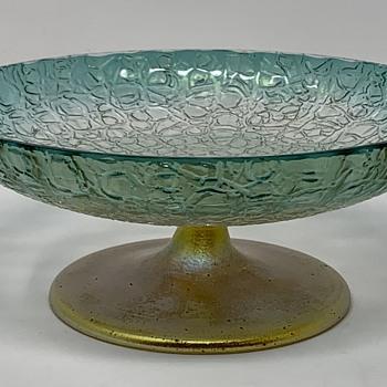 Loetz Candy Bowl, Blaugrün Verlaufend Gerippt & Geschrenkt mit Silberfuß, PN II-7682, ca. 1910 - Art Glass
