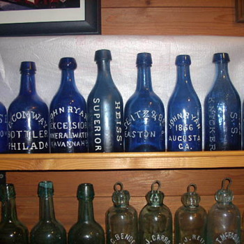 Lotsa Blue!!!  6 out of 8 are pontilled. - Bottles