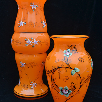 Tango orange with enamel decoration - Art Glass