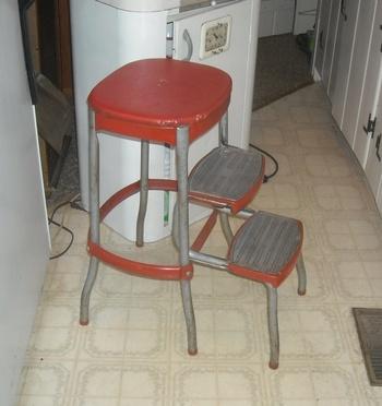 Vintage Cosco Kitchen Folding Step Stool With Bo Back