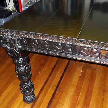 Antique Hand Carved Oak Table / Desk - Furniture