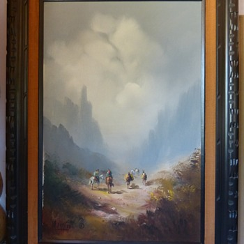 M.M.Merida Painting Gauchos Cowboys Mule Train - Fine Art