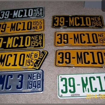 Nebraska motorcycle license plate run.    - Signs