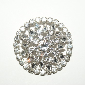 Jay Flex Sterling Rhinestone Brooch - Costume Jewelry