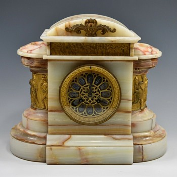 French Marble and Alabaster Neo Classical Clock (or Boat Anchor) 1890 - 1906 - Clocks