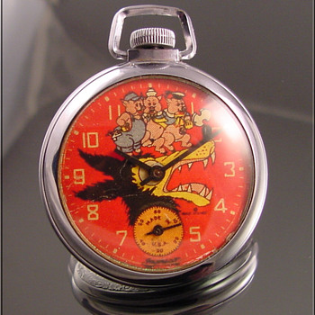 Big Bad Wolf & Three Little Pigs Ingersoll Pocket Warch - Pocket Watches