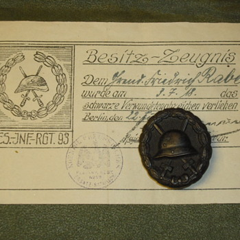 WWI German Wound Badge and Certificate