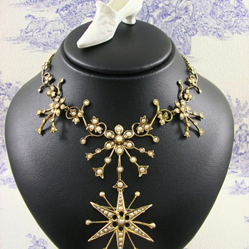 Belle Epoque 15ct Gold Seed Pearl Necklace with detachable Brooch c1910 - Fine Jewelry