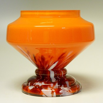 Czech Lided Spatter Jar, Circa 1930 - Art Glass