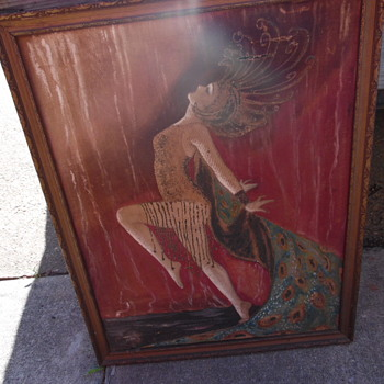 Antique Louis Icart Style Painting Lady Dancing Another Storage Find - Fine Art