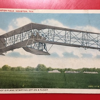 "Burgess-Dunne ""Fool Proof Biplane"" Post Marked 1920 Ellington Field, Houston, Texas Postcard - Postcards"