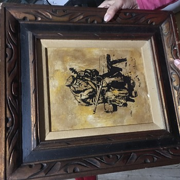 Man on bench silk screen canvas wood cut  - Fine Art