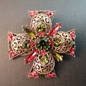 Emmons Maltese Cross brooch  - Costume Jewelry