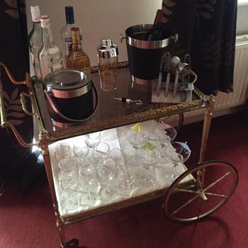Brass tea trolley bar cart glass shelves  - Kitchen