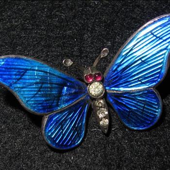 Meyle & Mayer silver enamel butterfly brooch. - Fine Jewelry