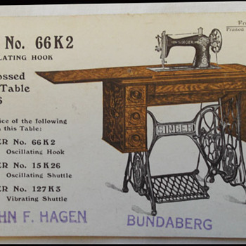 2 SINGER SEWING MACHINE POST CARDS ADVERISING - BUNDABERG  &  SCOTTISH exhibition  1908