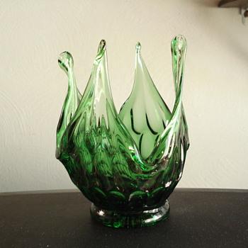 Fenton pulled glass thumbprint vase - Glassware