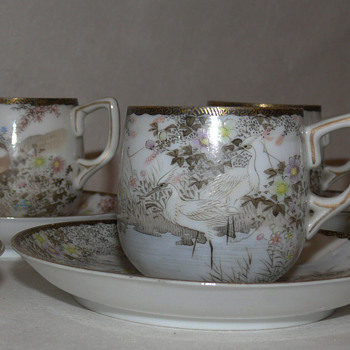 japanese eggshell porcelaine cups and saucers Hikojiro Imura