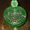 Apple Green Diamond Pattern Compote with Lid