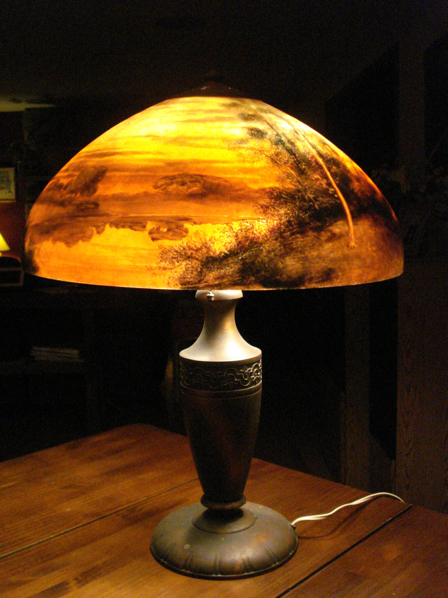 reverse painted lamp beautiful but what is it worth collectors weekly. Black Bedroom Furniture Sets. Home Design Ideas