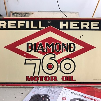 Diamond DX Oil Enamel Porcelain sign - like the story behind it - Signs