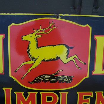 Porcelin John Deere farm implement sign - Signs