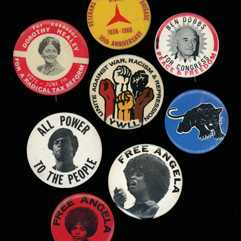 Eight original 1960's Black Panthers & American Communist Party Pinbacks - Medals Pins and Badges