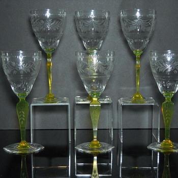 Hand Cut Vaseline Glass Stems - Art Glass