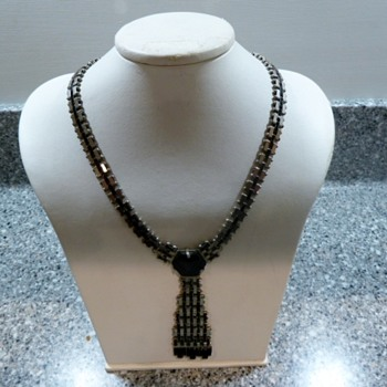 1930's Jakob Bengel Mauerwerk Chrome and Black Galaith Necklace - Art Deco