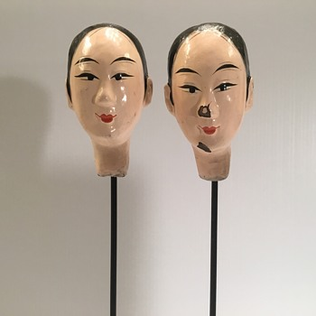 Antique Chinese porcelain heads on a metal stand - Asian